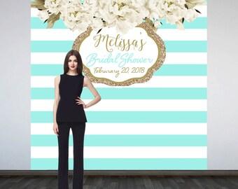 Bridal Shower Party Personalized Photo Backdrop -Aqua Stripes Photo Backdrop- Birthday Photo Booth Backdrop- Custom Backdrop - Baby Shower