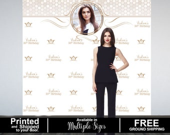 Birthday Queen Photo Backdrop, Step and Repeat Photo Backdrop- 30th Birthday Photo Backdrop, Printed Photo Booth Backdrop, Vinyl Backdrop