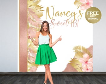 Tropical Sweet 16 Photo Backdrop | Sweet 16th Photo Backdrop | Birthday Photo Booth Backdrop | Birthday Photo Backdrop | Printed Backdrop