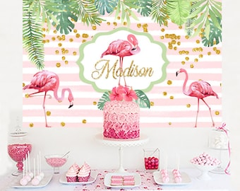 Pink Flamingo Personalized Backdrop, Birthday Cake Table Backdrop, Birthday Photo Backdrop, Tropical Backdrop, Summer Party Backdrop Printed