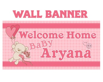 Welcome Home Baby Banner ~ Personalized Party Banners, It's a Girl Banner, Welcome Home Banner, Baby Shower Banner