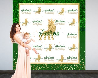 First Birthday King Personalized Photo Backdrop - Royal Lion King Photo Backdrop- 1st Birthday Photo Backdrop - Printed Photo Booth Backdrop