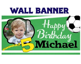SoccerParty Banner ~ Personalize Party Banners Indoor or Outdoor Photo Sports Banner