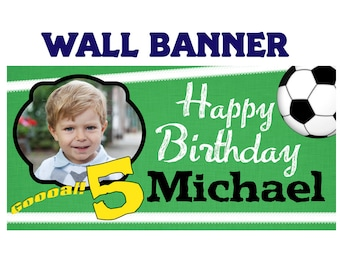 Soccer Party Banner ~ Birthday Banners - Party Banners - Photo Banners - Sports Party Banner - Printed Banner