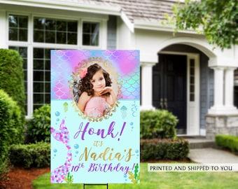 Honk Birthday Yard Sign | Quarantine Birthday | Birthday Yard Sign | Photo Yard Sign | Mermaid Birthday Yard Sign, Happy Birthday Lawn Sign