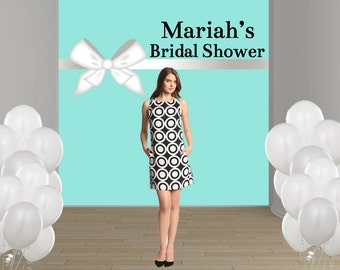 Bridal Shower Personalized Photo Backdrop - Baby Shower Party Backdrop, Aqua and White Bow Photo Backdrop, Custom Backdrop, Party Backdrop