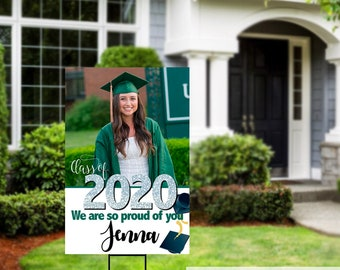 Class of 2020 Graduation Photo Yard Sign - Grad Party Welcome Sign - Welcome Sign Congrats, Foam Board Sign, Graduation Yard Sign