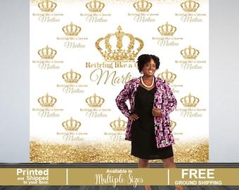 Retirement Personalized Photo Backdrop, Golden Photo Backdrop- Birthday Queen Photo Backdrop, Printed Photo Booth Backdrop, Birhday Backdrop