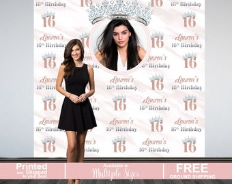 Sweet 16 Personalized Photo Backdrop -Rose Gold Photo Backdrop- 16th Birthday Backdrop - Princesss Photo Backdrop, Vinyl Backdrop - Printed