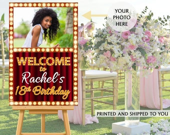 Hollywood Photo Welcome Sign - Welcome to the Party Sign - 18th Birthday Welcome Sign, Foam Board Welcome Sign, Printed Welcome Sign