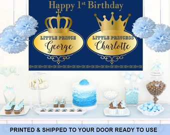 Royal Baby Shower Personalized Backdrop -Twin Baby Shower Cake Table Backdrop - First Birthday Backdrop, Princess Backdrop, Printed Backdrop