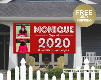 Class of 2020 Graduation Photo Banner ~ Congrats Grad Personalized Banners - School Colors Graduation Banner, Red and Silver Grad Banner