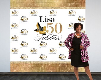 Fabulous 50 Personalized Photo Backdrop -Gold Photo Backdrop- 50th Birthday Photo Backdrop - Printed Photo Booth Backdrop, Heels Backdrop