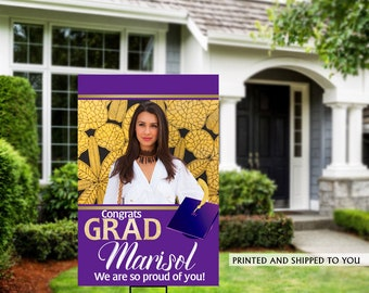 Class of 2020 Graduation Photo Yard Sign - Gold Grad Party Welcome Sign - Welcome Sign Congrats, Foam Board Sign, Graduation Yard Sign