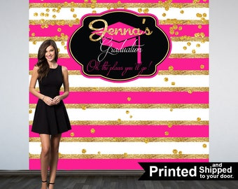 Graduation Photo Backdrop, Personalized Photo Backdrop- Printed Class of 2019 Photo Backdrop- Pink and Gold Stripes Photo Backdrop,