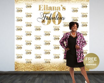 Fabulous 50 Personalized Photo Backdrop -Gold Photo Backdrop- 50th Birthday Photo Backdrop - Printed Photo Booth Backdrop, Vinyl Backdrop