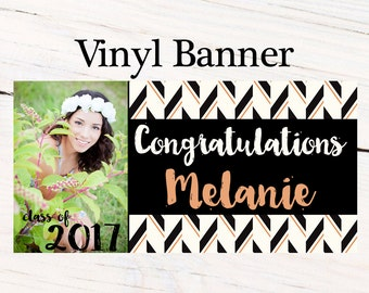 Graduation Class of 2018 Photo Banner ~ Congrats Grad Personalized Party Banners -School Colors Banner, Graduation Banner, Printed Banner