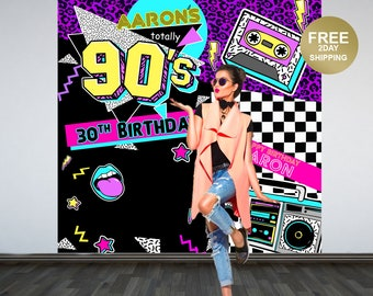 Back to the 90's Party Personalized Photo Backdrop | 90s Photo Backdrop | Birthday Photo Backdrop - Birthday Backdrop | Printed Backdrop
