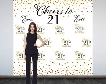 Cheers to 21 Party Personalized Photo Backdrop -Milestone Photo Backdrop- Gold Sparkle Birthday Party Backdrop - Step and Repeat Backdrop