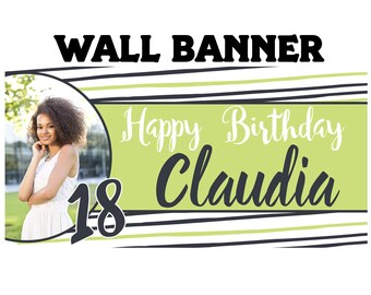 Fun Stripes Photo Birthday Banner ~ 18th Birthday Personalize Party Banners - Large Photo Banners - Printed Banner, 16th Birthday