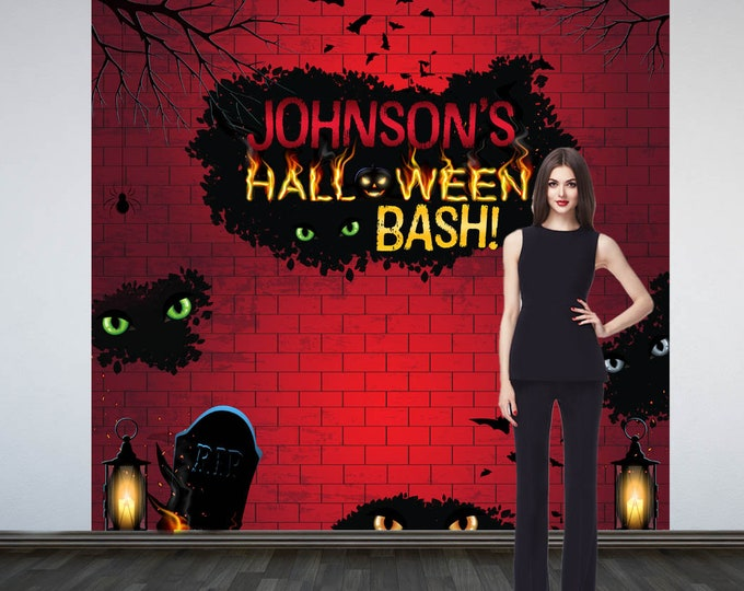 Featured listing image: Halloween Bash Party Photo Backdrop - Halloween Photo Backdrop- Bats and Cats Party Photo Backdrop, Scary Holiday Printed Party Backdrop