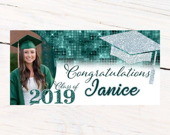 Graduation Photo Banner | Congrats Grad Personalized Party Banners | Graduation Banner | Class of 2019 Banner |  Printed Custom Banner