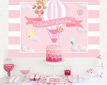 Up up and Away Personalized Backdrop, Birthday Cake Table Backdrop, Hot Air Balloon Photo Backdrop, 1st Birthday Printed Party Backdrop