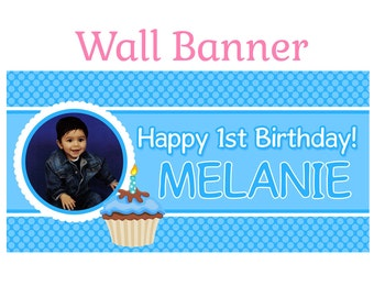 Happy First Birthday Boy Banner ~ Personalized Happy Birthday Party Banners, Photo Birthday Banner, First Birthday Banner, Custom Banner