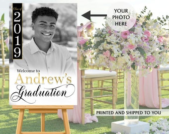 Graduation Photo Welcome Sign - Grad Party Welcome Sign, Welcome Sign Congrats, Foam Board Sign, Graduation Sign, Class of 2019 Welcome Sign