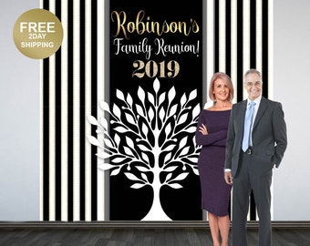 Family Reunion Personalized Photo Backdrop | Black and White Photo Booth Backdrop | Birthday Party Backdrop | Reunion Printed Backdrop
