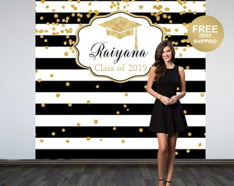 Graduation Personalized Photo Backdrop | Black and White Stripes Photo Backdrop | Class of 2019 Photo Backdrop | Photo Booth Backdrop