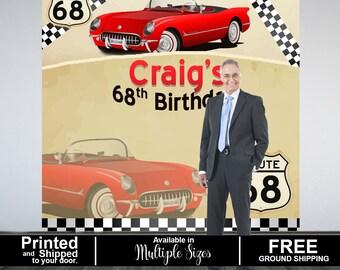 Vintage Car Party Personalized Photo Backdrop -Corvette Photo Backdrop- Birthday Photo Booth Backdrop, 60th Birthday, 50th Birthday Backdrop