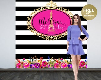 Paris Photo Backdrop | Black and White Stripes Eiffel Tower Backdrop | Birthday Photo Backdrop | Paris Backdrop | 30th Birthday Backdrop