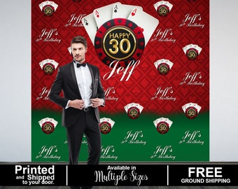 Casino Party Personalized Photo Backdrop, Casino Step and Repeat Photo Backdrop, Birthday Photo Booth Backdrop, Las Vegas Theme Backdrop