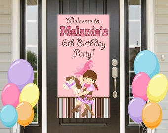 Cowgirl Birthday Door Banner  ~ Personalized Western Girl Party Banner, Welcome to the Party Banner, Vinyl Banner, Printed Banner