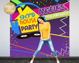 90's House Party Personalized Photo Backdrop | 90's Photo Backdrop | Hip Hop Birthday Backdrop | Backdrop | 30th Birthday Photo Backdrop