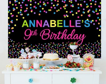 Bright Polka Dots Personalized Backdrop | Birthday Cake Table Backdrop | Sprinkles Photo Backdrop  |  Printed Backdrop | Birthday Backdrop