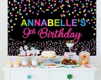 Bright Polka Dots Personalized Backdrop | Birthday Cake Table Backdrop | Sprinkles Photo Backdrop  |  Printed Backdrop | Birthday Backdrop