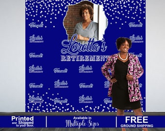 Retirement Personalized Photo Backdrop, 50th Birthday Photo Backdrop, Vinyl Photo Backdrop, Printed Photo Booth Backdrop, Farewell Backdrop
