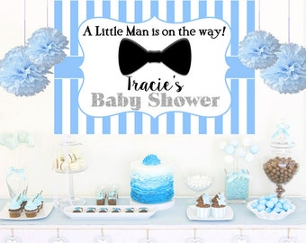 Little Man Photo Backdrop, Baby Shower Cake Table Backdrop, Bow Tie Backdrop, Birthday Backdrop, Little Gentleman Backdrop, Printed Backdrop