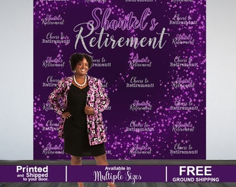 Retirement Party Personalized Photo Backdrop, Cheers to Retirement Step and Repeat Photo Backdrop- Birthday Photo Backdrop, Printed Backdrop