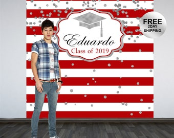 Graduation Photo Backdrop | Red and White Stripes Photo Backdrop | Class of 2019 Photo Backdrop | Photo Booth Backdrop | Congrats Grad