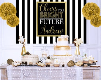 Cheers to a Bright Future Personalized Backdrop - Congrats Grad Cake Table Backdrop - Class of 2019 Photo Backdrop, Graduation Backdrop