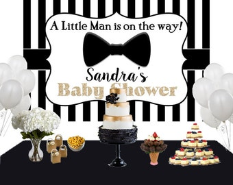 Little Man Personalized Photo Backdrop, Baby Shower Cake Table Backdrop, Bow Tie Backdrop, Little Gentleman Backdrop, Black & White Stripes