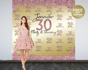 30th Birthday Personalized Photo Backdrop | Gold Photo Backdrop | Birthday Backdrop | Printed Backdrop | Flirty & Thirty Photo Backdrop