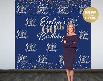 60th Birthday Personalized Photo Backdrop| Navy and Gold Sparkle Photo Booth Backdrop| Birthday Backdrop | Party Backdrop | Printed Backdrop