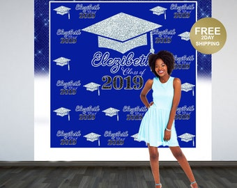 Graduation Photo Backdrop | Personalized Photo Backdrop | Class of 2019 Photo Backdrop | Congrats Grad Photo Backdrop |  Printed Backdrop