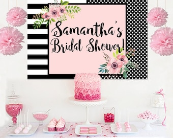 Bridal Shower Personalized Backdrop -Wedding Shower Cake Table Backdrop- Wedding Backdrop - Birthday Photo Backdrop- Baby Shower Backdrop