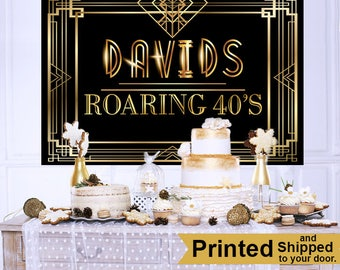 Roaring 20's Personalized Backdrop - Birthday Cake Table Backdrop - Great Gastby Backdrop - Custom Backdrop, 40th Birthday Backdrop, Printed