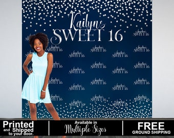 Sweet Sixteen Personalized Photo Backdrop -Navy Blue and Silver Photo Backdrop- 16th Birthday Photo Backdrop - Printed Photo Booth Backdrop